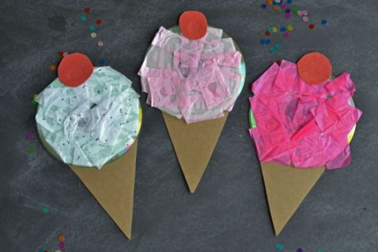 Recycled CD Ice Cream Craft