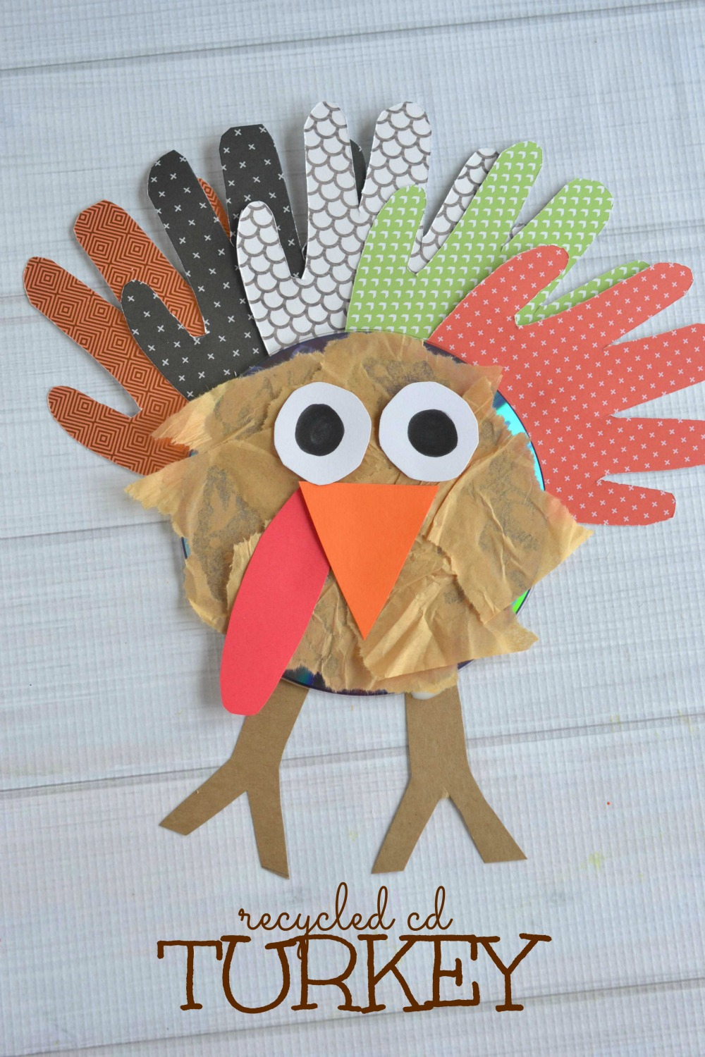 Recycled cd turkey kids craft make and takes for Best out of waste for adults