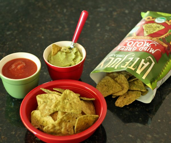 Salsa, guacamole, and chips for a red and green meal