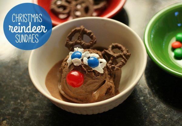 Christmas reindeer sundaes