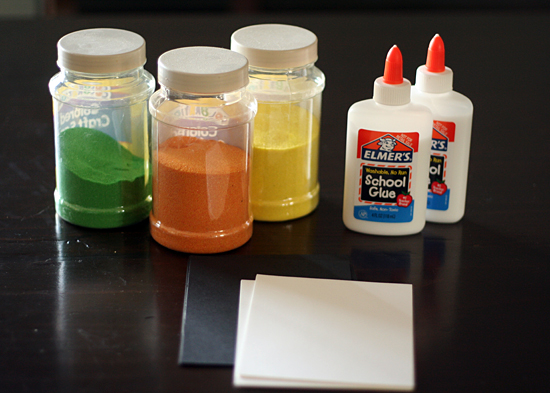 Colored sand project supplies