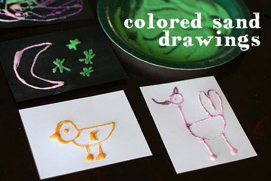 Colored sand drawings