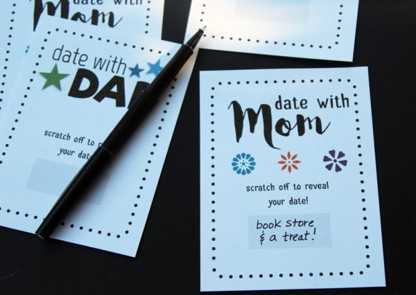 Scratch-off parent child date coupons