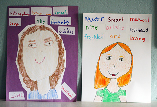 All About Me Adjective Self Portraits For Kids Make And