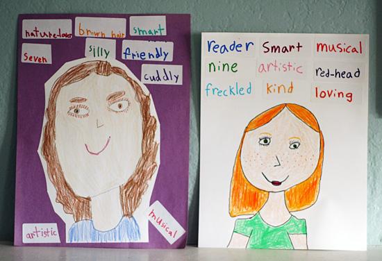 Adjective self-portraits for kids