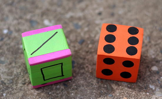 Making dice for shape drawing game