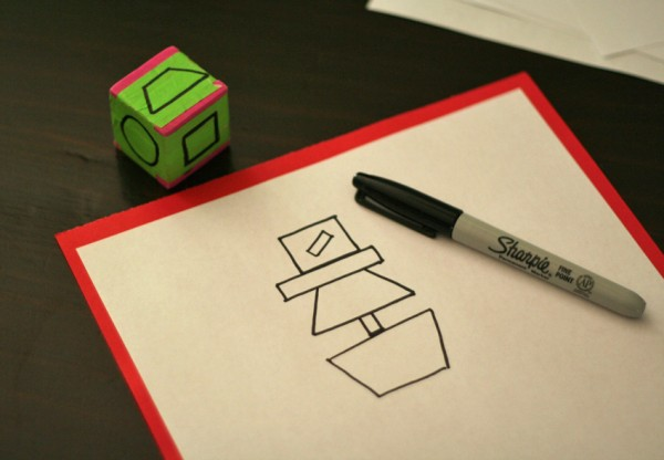 Shape dice for scarecrow drawing game