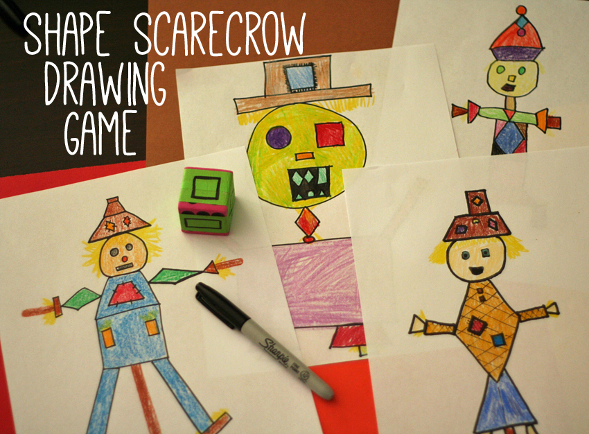 shape scarecrow drawing game make and takes