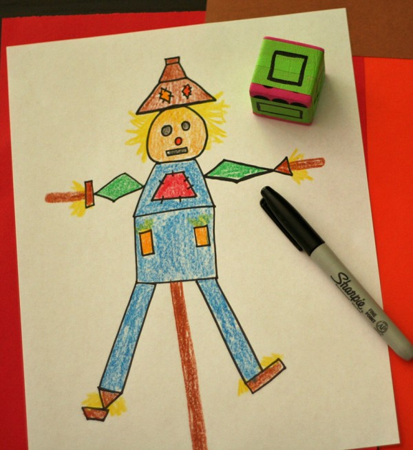 Shape scarecrows ~ drawing game for kids
