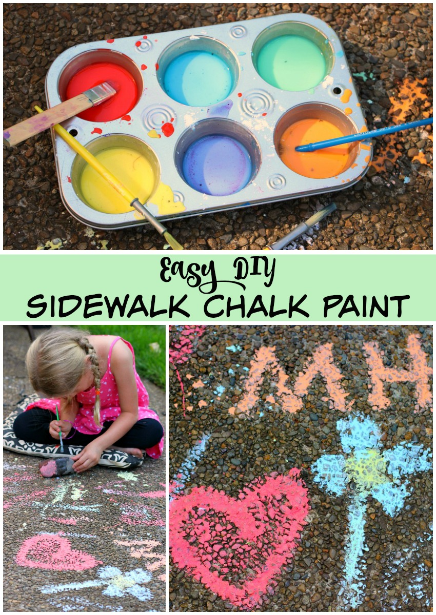 Easy DIY Sidewalk Chalk Paint Recipe! Perfect summer activities for kids