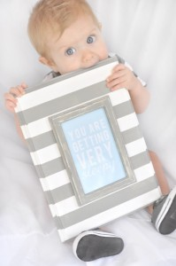 Sleepy baby quote paint stripes gray white tutorial