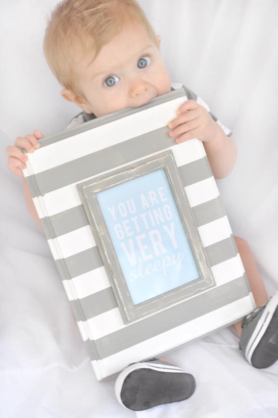 Sleepy baby quote paint stripes gray white tutorial