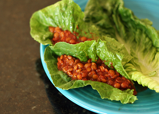 Slow Cooker Lentil Sloppy Joes Lettuce Wrap
