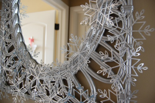upcycled snowflake mirror project