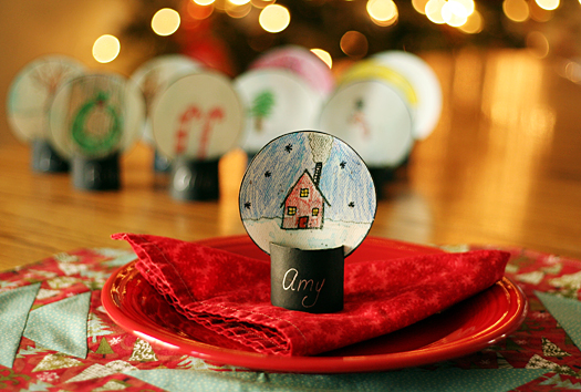 snow globe place card