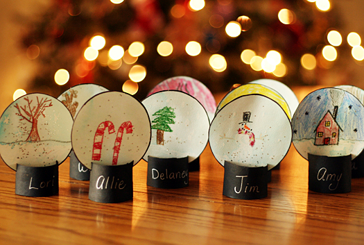 Winter Snow Globe Place Cards