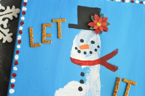 Footprint Snowman Keepsake Canvas Idea