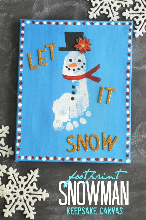 Footprint Snowman Keepsake Canvas Idea