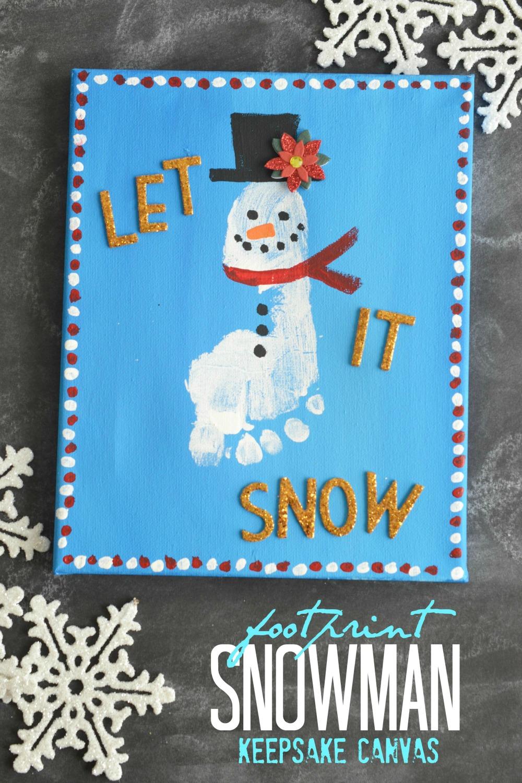 Footprint Snowman Keepsake Canvas Make And Takes