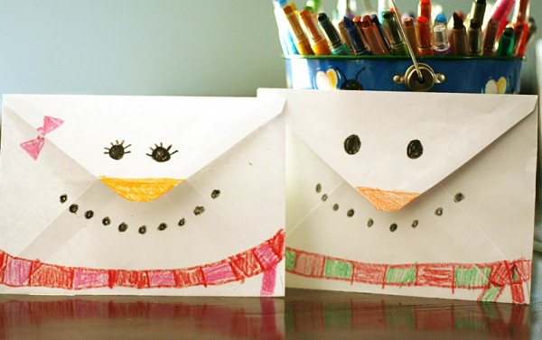 Snowman envelope craft for kids