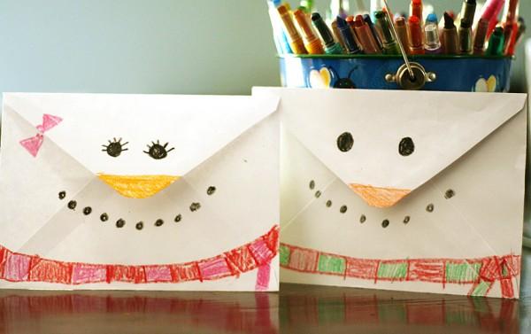 Snowman envelope craft for kids