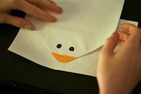 Snowman face on envelope