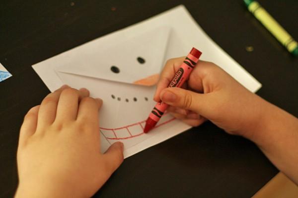 Snowman envelope drawing