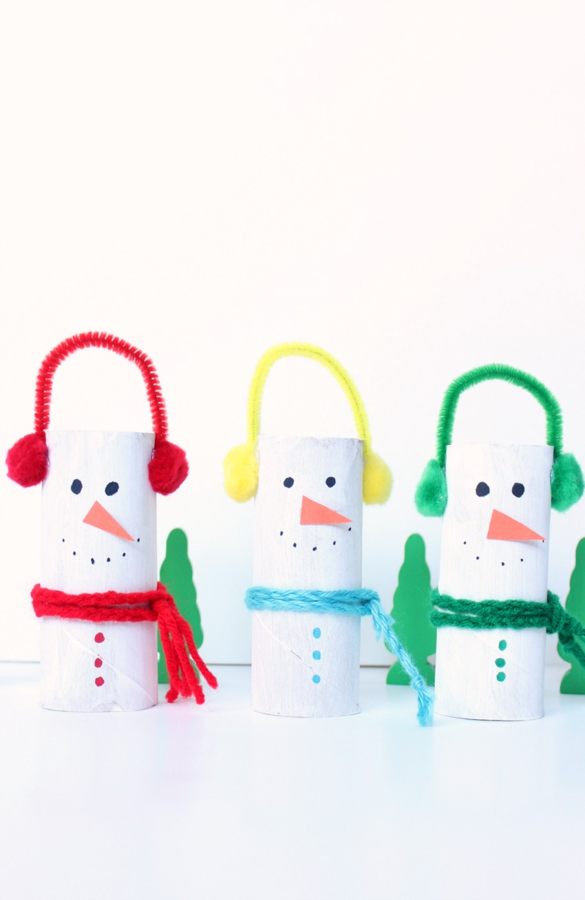 Cardboard tube snowman craft make and takes for Winter crafts for children