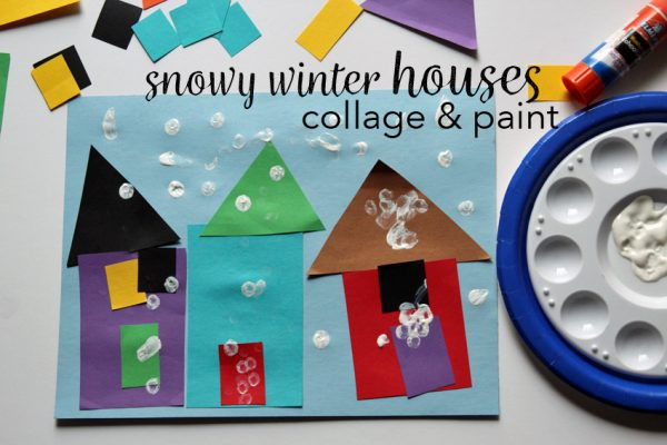 Snowy Winter Houses Art Invitation