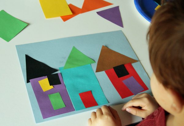 Collage house art invitation for kids