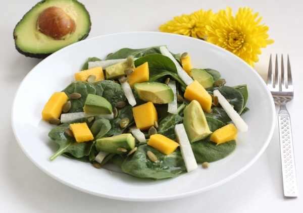 Spinach Salad with Mango, Avocado, Jicama, and Pepitas