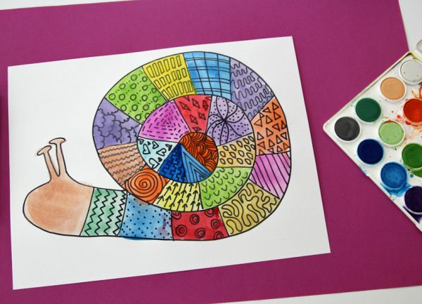Doodle and paint a colorful snail