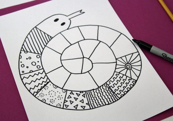 Spiral doodle snake art project
