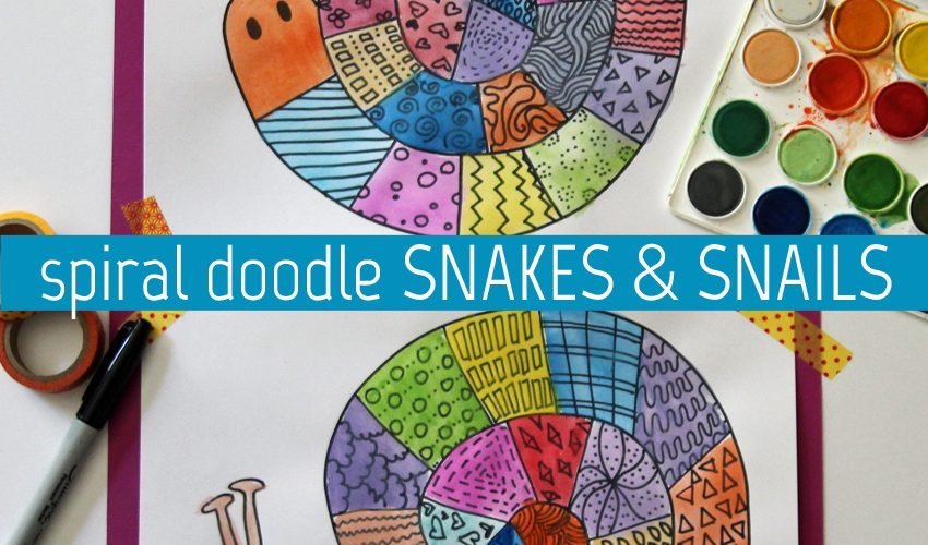 Create colorful spiral doodle snakes and snails