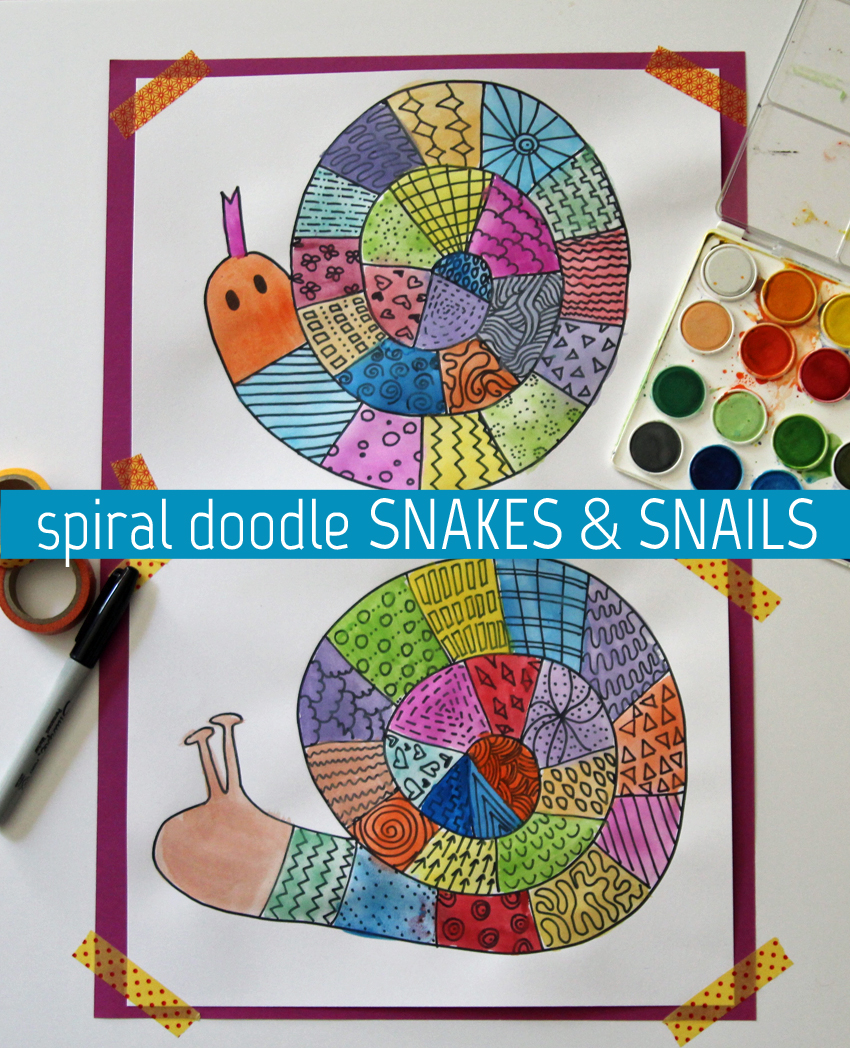 Colorful Spiral Doodle Snakes And Snails Make And Takes