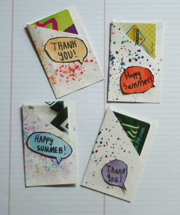 Kid-made splatter paint gift card pockets