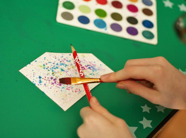 Splatter painting gift card pockets