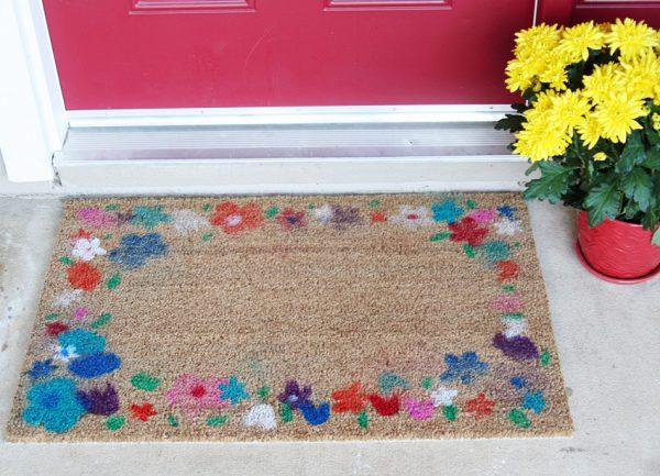 Kid-made spring flower doormat