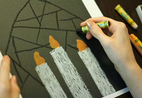 Stained glass candle art for kids
