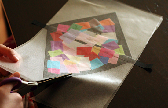 Cutting out a stained glass kite