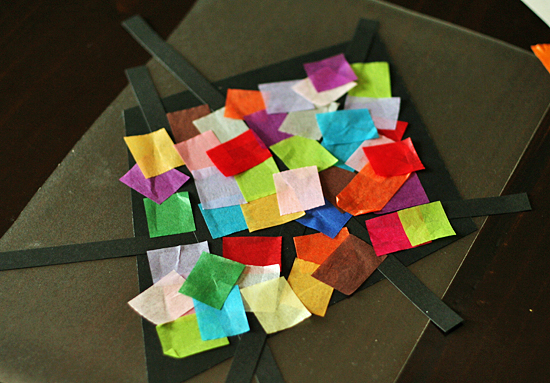 Tissue paper stained glass kite project
