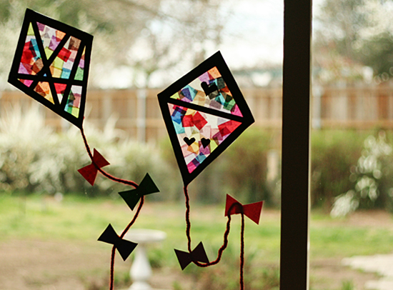 Colorful stained glass kites window display make and takes for Stained glass window craft with tissue paper