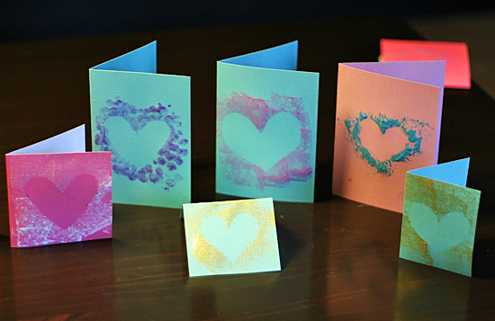 Simple Stenciled Heart Cards for Valentines day