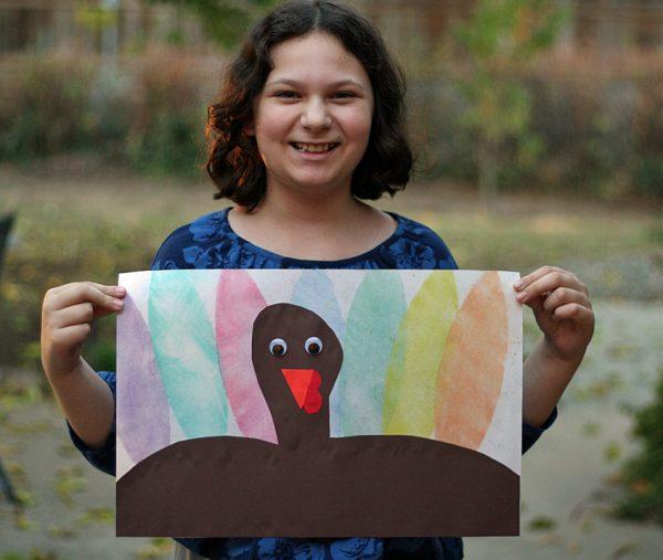 Stenciled turkey art project for kids