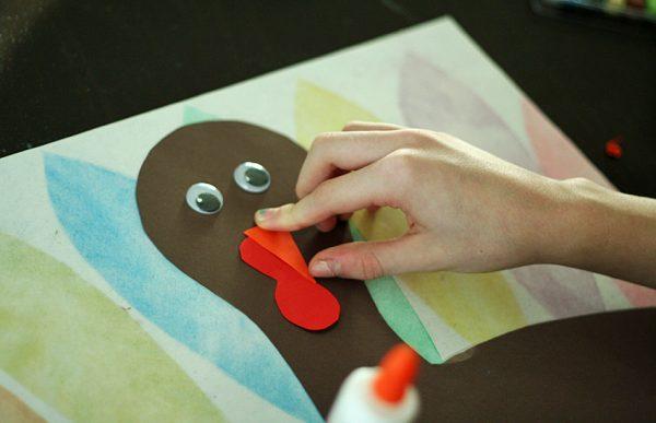 Stenciled turkey art project