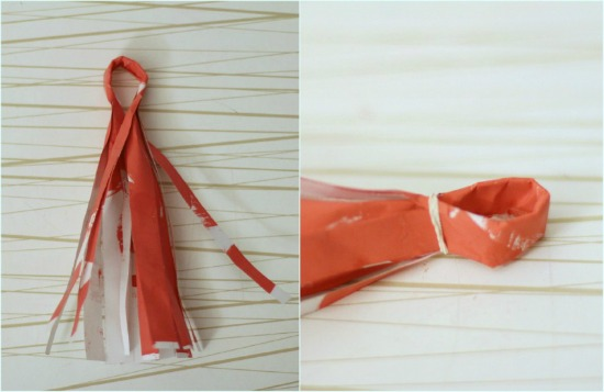 step 8 fold tassel into loop, tie rubber band