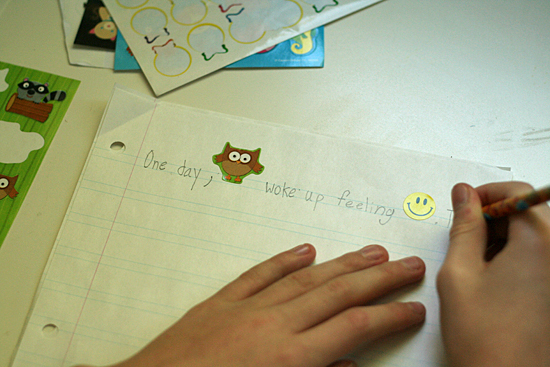 Writing a rebus story with stickers