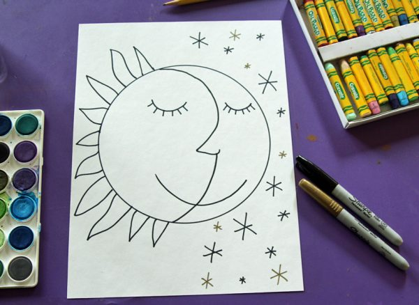 Sun and moon marker drawing