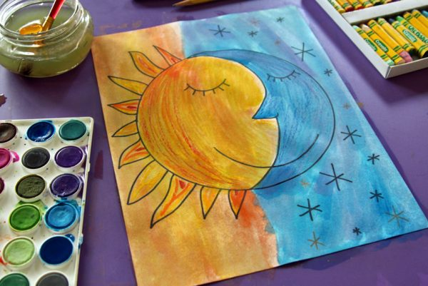 Watercolor resist sun and moon art