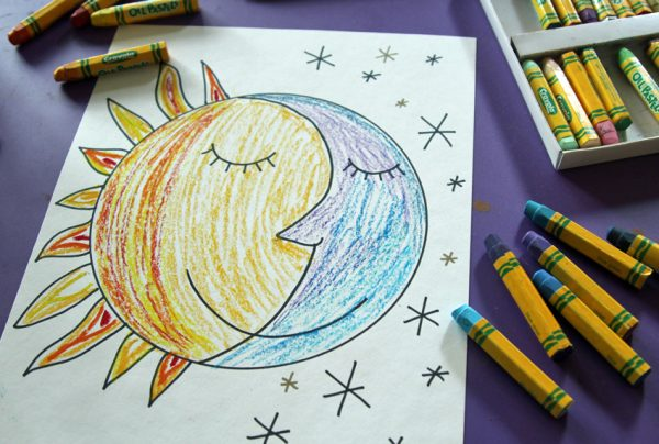 Oil pastel sun and moon faces